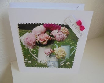 Happy Birthday hand made card with pretty flowers on the front, made with love, FREE SHIPPING...