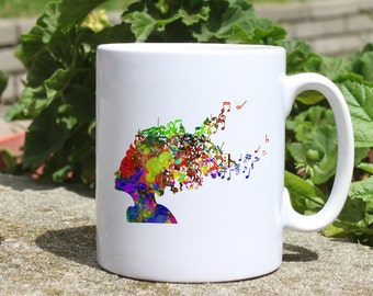 Music hair mug - Hairstyle mug - Colorful printed mug - Tee mug - Coffee Mug - Gift Idea