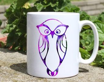 Purple owl mug - Bird mug - Colorful printed mug - Tee mug - Coffee Mug - Gift Idea