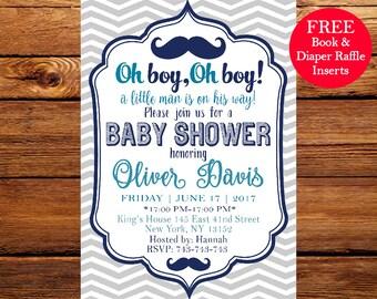 Oh boy Baby Shower Invitation, Oh Boy Baby Shower, Oh Boy Invitation, Mustache,  Printable Baby Shower Invitation 141