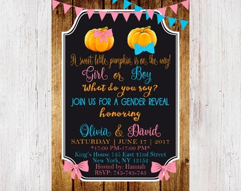 Pumpkin Gender Reveal Invitation, Pumpkin Gender Reveal Invite, Fall Pumpkin, Pink & Blue Gender Reveal  203
