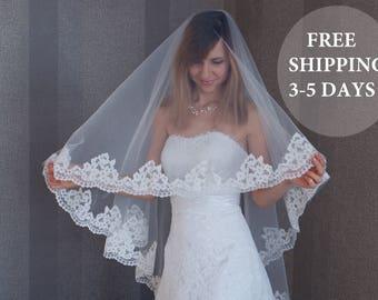 Cathedral Wedding veil, Drop veil blusher, Lace Drop Veil, Soft Drop veil, Veil for Cathedral, lace bridal veil, FREE SHIPPING 3-5 DAYS!!!