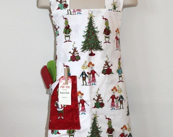 Child's Apron in Grinch Pattern