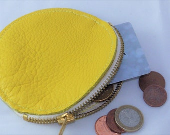 Genuine leather coin purse, wallet, yellow