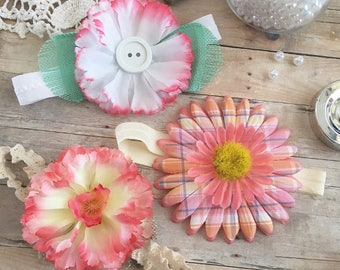 Pastel flower headbands, baby headbands, flower headbands, spring flowers, pink headbands