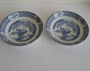 2 Wood & Sons blue 'Yuan' saucers