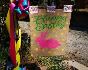 Easter Burlap flag