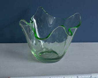 Green Glass Handkerchief Vase