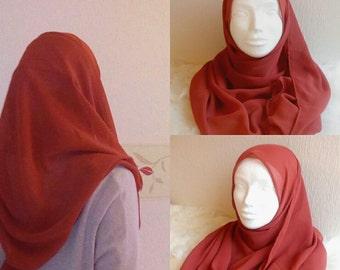 Dusty cedar chiffon headscarve