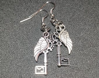 Silver Ornate Key and Angel Wing Dangle Earrings