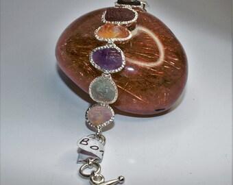 Bracelet set silver of raw stones