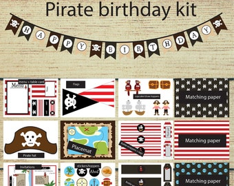 Instant printable: pirate birthday kit, DIY pirate party kit, A4 & US letter format