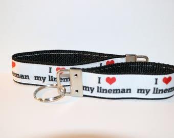 "Handmade I LOVE MY LINEMAN Key Fob Rings in Mini and 8"""