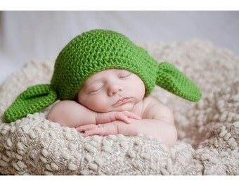 Handmade Star Wars Crochet Baby Yoda Hat with Ears newborn photo props, baby crochet hat - Super soft yarn. Available in multiple sizes.