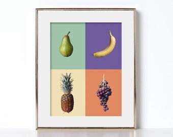 Printable Art Digital Download Tiki Chic Design Trendy Design Foodie Banana Grid Grapes Chef  Art Food Lover Artsy  Bright Colors Beach