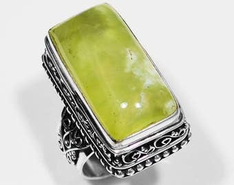 Rectangle Cut Green Prehnite, Hand Carved, Vintage Style .925 Sterling Silver Ring Size 9, Prehnite Ring, Gemstone Ring, Silver Ring