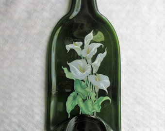 Calla Lily, melted bottle, slumped bottle, spoon rest, cheeseboard, recycled glass, lily, wine, wine bottle, barware