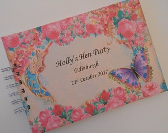 Personalised Hen Party Guest Book Photo Album Scrapbook Vintage COLOURFUL BUTTERFLY Hen Do Personalised Bridal Bride to be Gift Hen Night