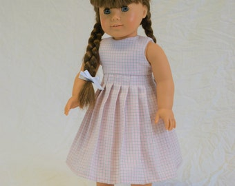 "Long pale pink school girl plaid dress for 18"" doll"