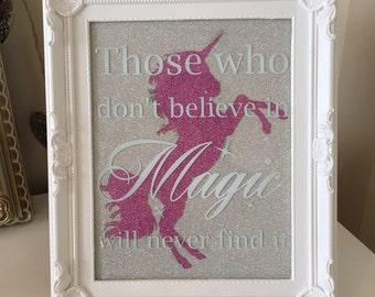 Unicorn glittter print. Girls bedroom