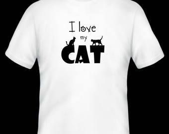 I love my cat t-shirt/ pet/ cat/ animal t-shirt