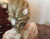 Floral Flower Hair Pin, Bridal Hair Accessories, Bridal Pin, Floral Hair Piece, Flower Hair Piece, Prom, Flower Girl Hair Pin, Free Shipping