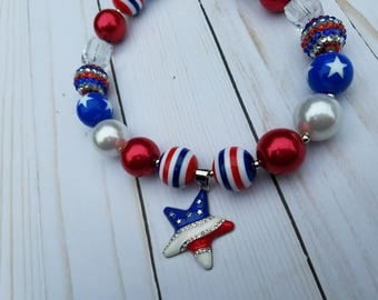 Bubblegum Necklace, Red white Blue, Toddler Necklace, Girl's Necklace, Chuncky necklace, 4th of July Necklace, Memorial Day Necklace