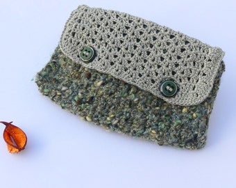 Cover, toiletry handmade crochet green and gray