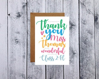 Personalised Thank You Teacher Card, Personalised Teacher Card, Teacher Card, Teacher Gift, School Card