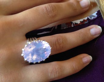 Argentium and Lavender Moonstone Ring