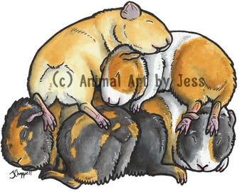 """Original 10x8"""" mounted ink cartoon of a pile of sleepy Guinea pigs, by Yorkshire animal artist Jess Chappell"""