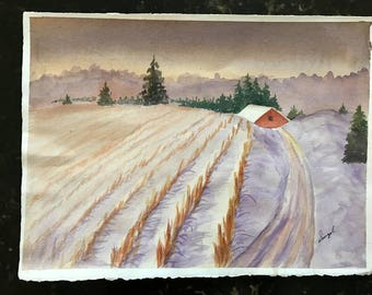 Winters End, original watercolor painting