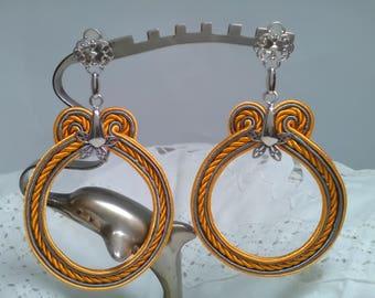 Flamenco earrings, gypsy earrings, party earrings, silk jewelry, lady gift, flamenco earrings, Valentine Gift