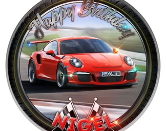 """Red Porsche Personalised Edible Icing. Birthday Cake Topper Decoration 7.5"""""""