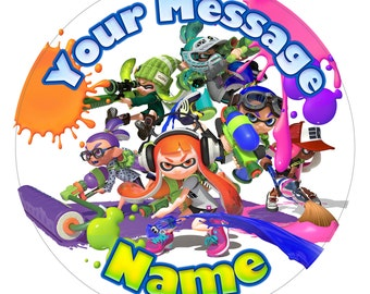 Splatoon Inspired Personalised Edible Icing Print Party Decoration Cake Topper 7.5""