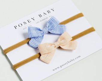 Linen Baby Headbands & Bows | Mini Newborn Bow Set | Small Blue Stripe and Blush