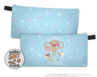 Uterus Zipper Pouch: HUNGRY UTERUS Sweet Tooth, pie, candy, chocolate chip cookie, sprinkle pink donut, cupcake