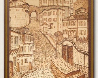 "Art pyrography picture on wood ""Plovdiv"". Wood picture. Wall art. Wood art. Woodburning picture."