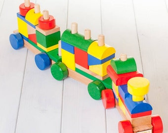 Personalised Colourful Wooden Building Blocks Train