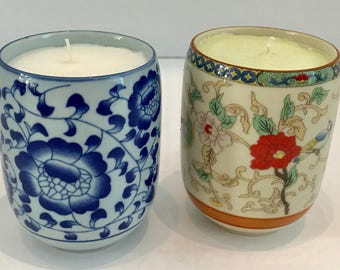 2 Melon Scented Soy Wax Candles in Floral Chinese Teacups