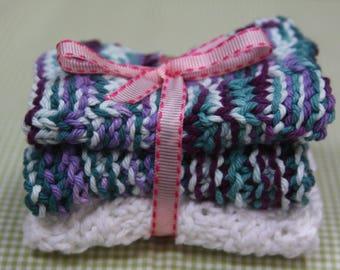 Knit Dish Cloths, White/Blue Multi
