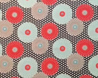 Coral/Teal/Brown Flower Girls Crib Sheet