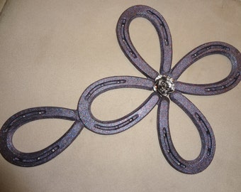 Pretty Purple Cross with Silver Rose