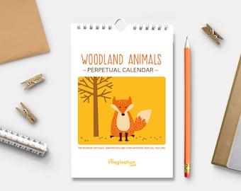 Perpetual Calendar - Desk Calendar - Birthday calendar - Mini Calendar - Woodland Animals - Calendar - Wall Calendar - Gifts - Holiday gifts