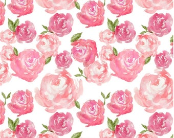 Water Color Floral Baby Blanket, Pink Baby Blanket, Flowers Baby Blanket, Soft Baby Blanket, Minky Girl Blanket