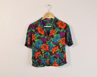 Tropical Print Blouse, 90s Print Shirt, Vintage Tropical Top, 90s Short Sleeve Button Up, Womens Tropical Shirt, 90s Floral Print Shirt