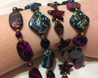 Splatter Paint Beaded Bracelets