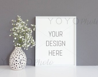 Empty White Frame 8x10, Empty Frame Dark Background, Frame Smart Object, Frame and Vase Mockup, Single Frame Photo, Poster Mockup, Mockup