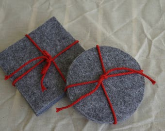 Grey Felt Coasters, Drink Coaster, Table Protector, Cup Placemat