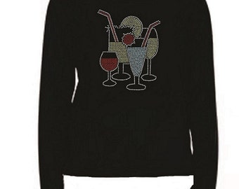 Rhinestone Cocktails T Shirt                                                                   LR VVTT